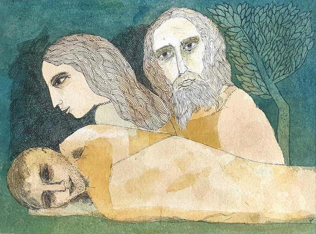 ", 'Savitri, Satyavan & Yama, Mythology, Watercolor on paper by Padmashree Artist ""In Stock"",' 2006, Gallery Kolkata"