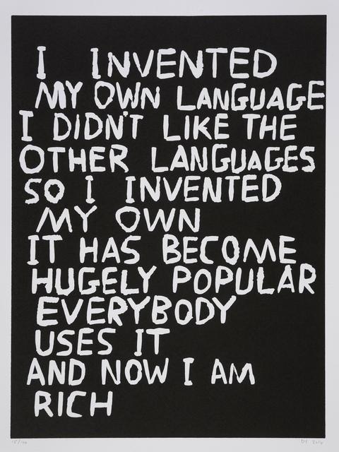 David Shrigley, 'Language', 2014, Print, Linocut, Forum Auctions