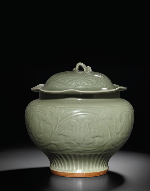 Unknown Chinese, 'A carved 'Longquan' celadon jar and cover (Yuan dynasty)', Yuan dynasty (1279-1368), Littleton & Hennessy Asian Art