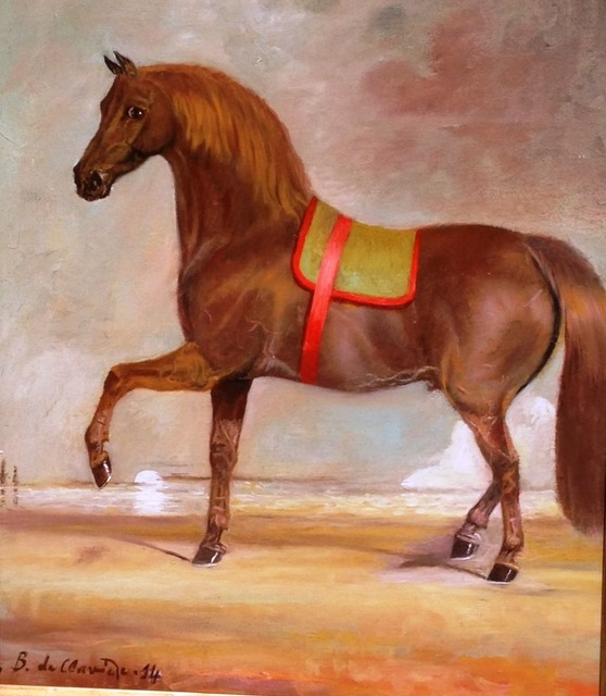 , 'Chestnut Arabian with Green and Persimmon Blanket,' 2014, Dog & Horse Fine Art