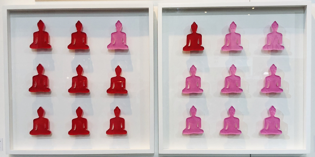 , 'Nine No. 10 & 11 - diptych pink and red buddha wall sculpture,' 2019, Contempop Gallery