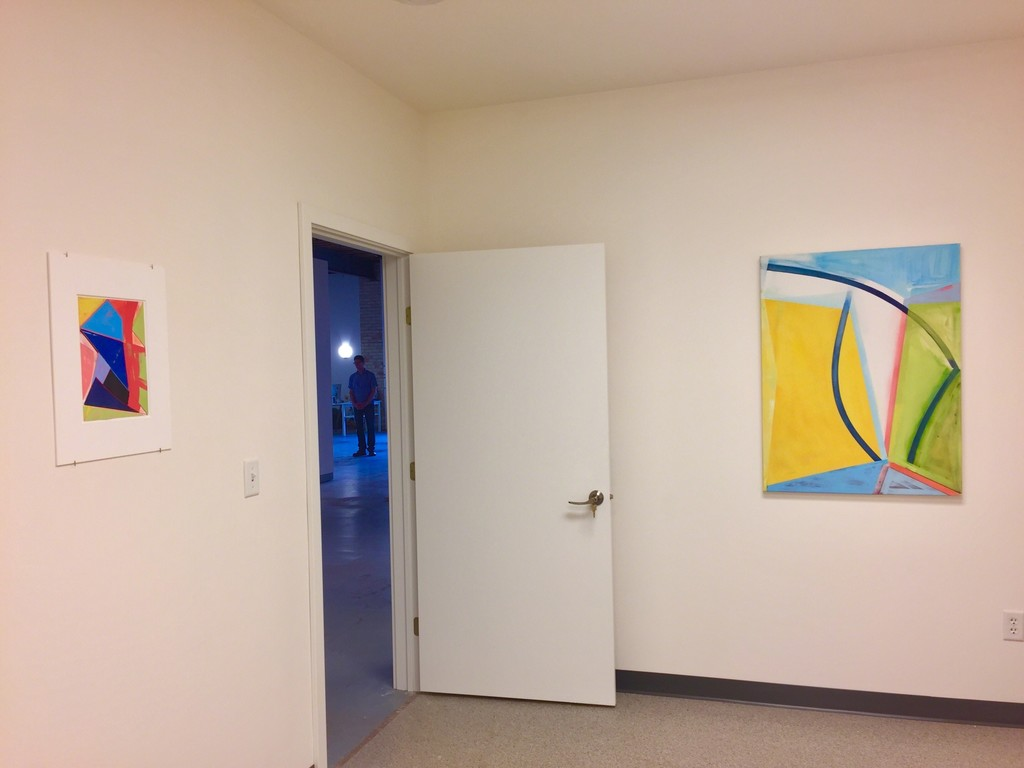 "Installation view 8 – l to r,  ""Slippage – Space #1"" and ""Re-formed Curve"""