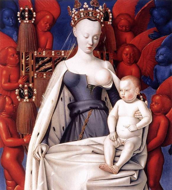Jean Fouquet, 'Virgin and Child, right wing of the Melun Diptych', 1451, Art History 101