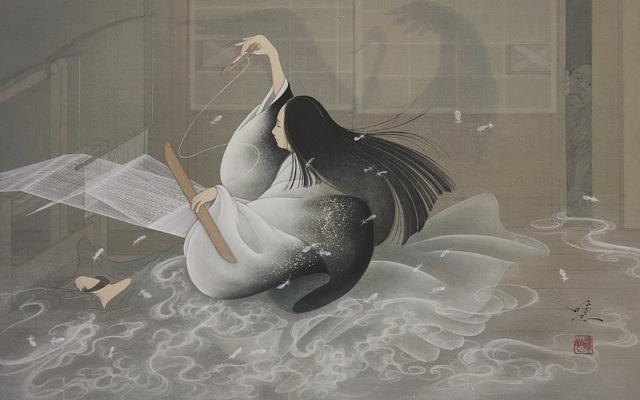 Yoji Kumagai, 'Weaving Crane,', 2019, Painting, Mineral pigments on Japanese paper mounted on panel, SEIZAN Gallery