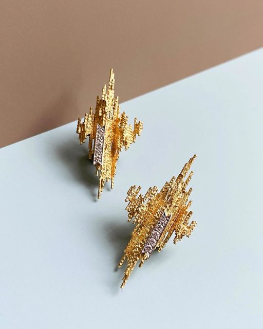 , 'Gold and Diamond Earrings,' 2019, Grima