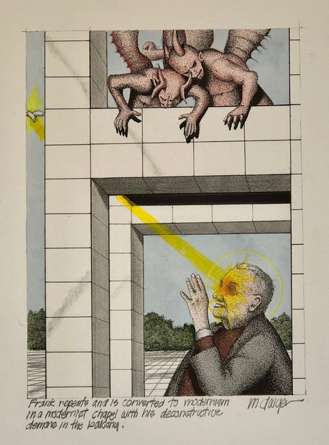 Michael Dwyer, 'Frank repents and is converted to modernism in a modernist chapel with his deconstructive demons in the balcony.', 2020, Drawing, Collage or other Work on Paper, Mixed Media on Paper, M.A. Doran Gallery