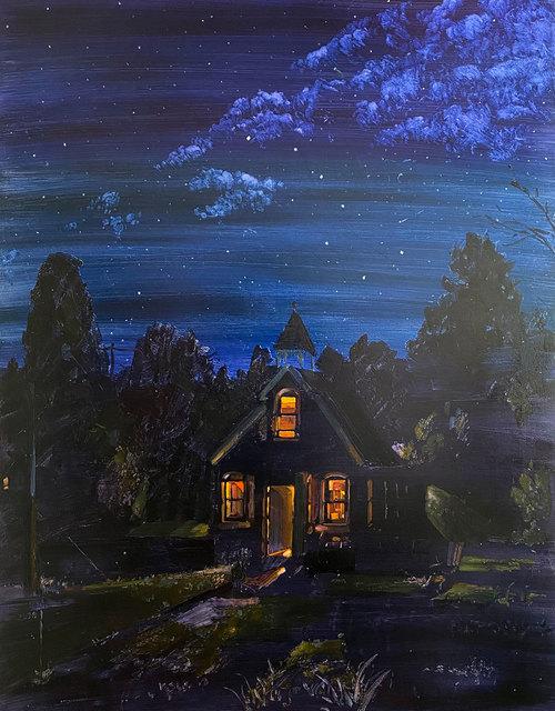 Keiran Brennan Hinton, 'Nighttime Schoolhouse', 2020, Painting, Oil on canvas, Galerie Nicolas Robert