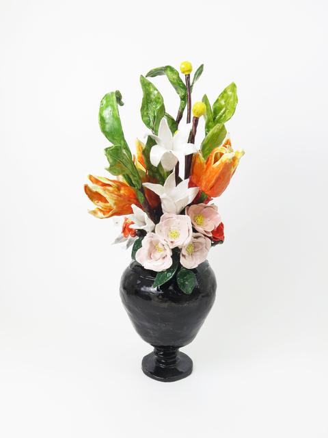 Rose Eken Flower Arrangement In Black Vase Artsy