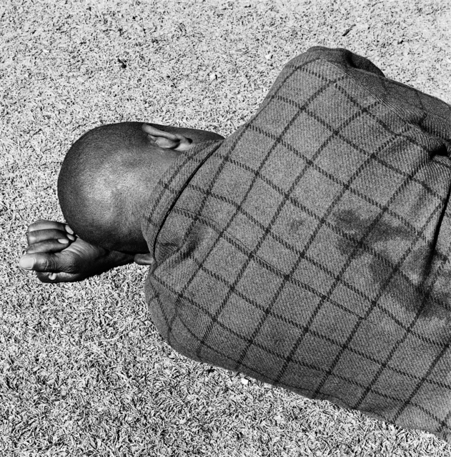 David Goldblatt, ' Sleeping man, Joubert Park, Johannesburg', 1975, Goodman Gallery