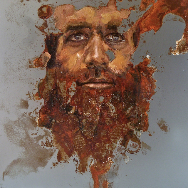 Sabatino Cersosimo, 'Experiment auf Stahl XXVI', 2013, Painting, Oil and oxidation on steel, Accesso Galleria
