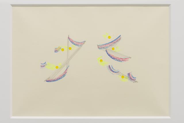 Tetsuro Kano, 'New plants', 2016, Painting, Sticker, oil pastel, pencil on paper, Yuka Tsuruno Gallery