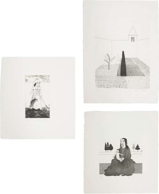 David Hockney, 'Rapunzel Growing in the Garden; The Enchantress in her Garden; and The Enchantress with the Baby Rapunzel, plates 12, 13 and 14 from Illustrations for Six Fairy Tales from the Brothers Grimm', 1969, Phillips