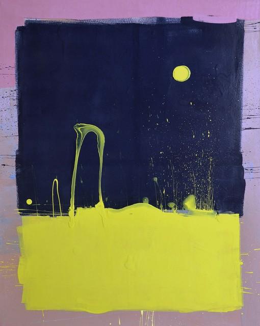 Anthony Hunter, 'Dark Blue Sky with Yellow Moon Blob Painting', JoAnne Artman Gallery