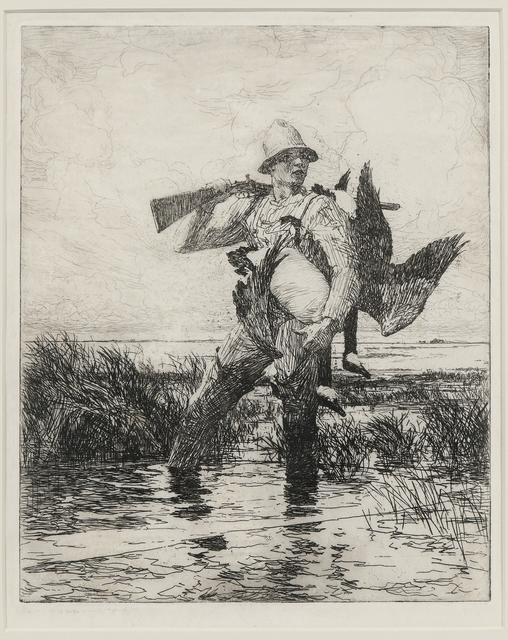 Frank Weston Benson, 'Marsh Gunner', 1918, Print, Etching on Shogun paper with watermark, Skinner