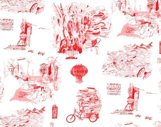 , 'Notes from Shanghai wallpaper,' 2014, Emerson Dorsch