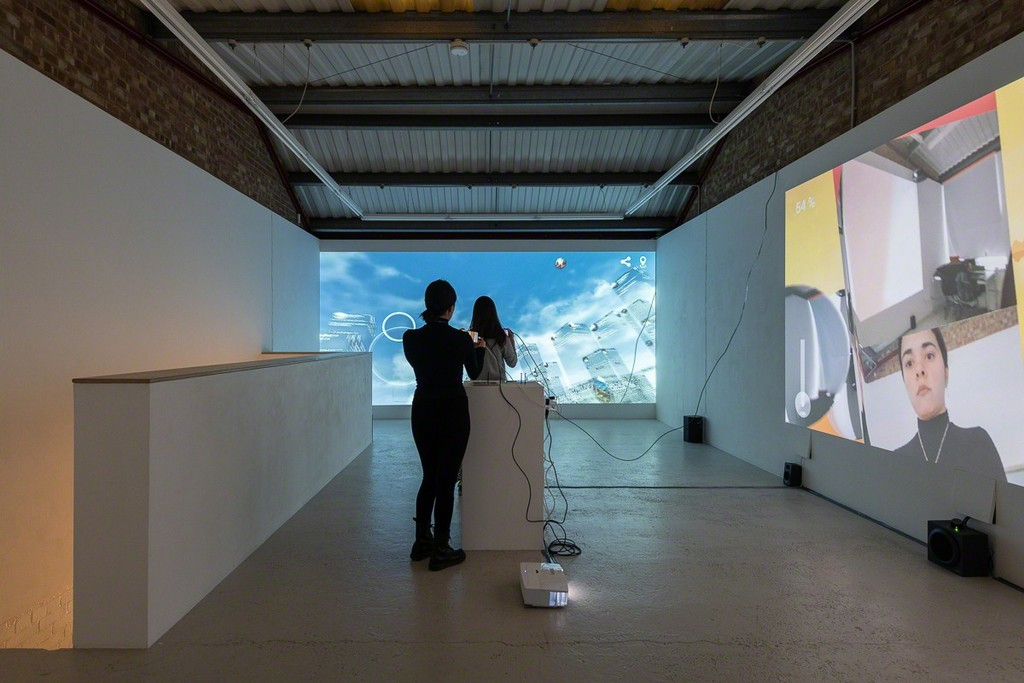 """Installation view of Marc Lee """"Non-Places"""" at Annka Kultys Gallery, London 2019. Photo: Annka Kultys Gallery (Damian Griffiths)"""