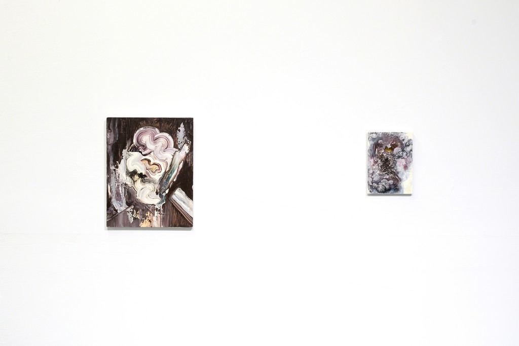 Two paintings by Anna Kiljunen in WE LOST OUR TAILS at PROTO Gallery.