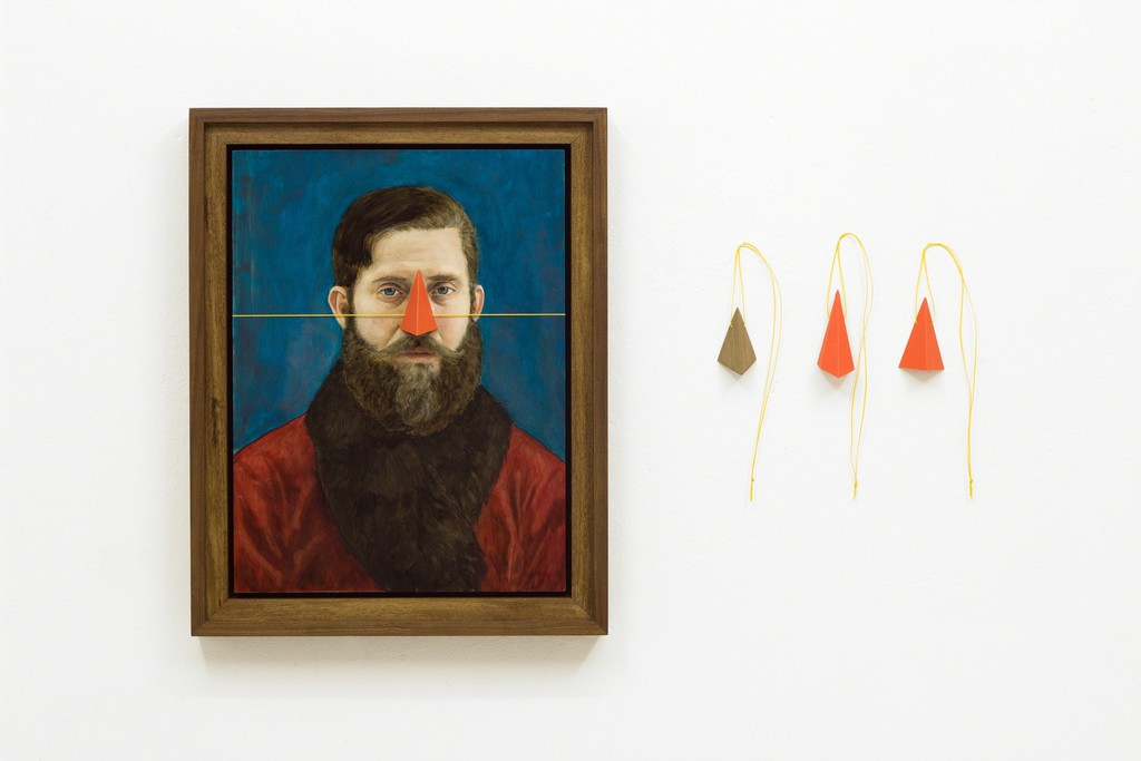 Sebastian Neeb, Third Nose Test , 2015, Oil on board, paper noses and a wooden nose with waxed string, frame, 49.5 x 69.5 x 7 cm