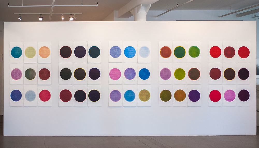 Installation view of works from Richard Tsao's Round series at Art Projects International, New York.