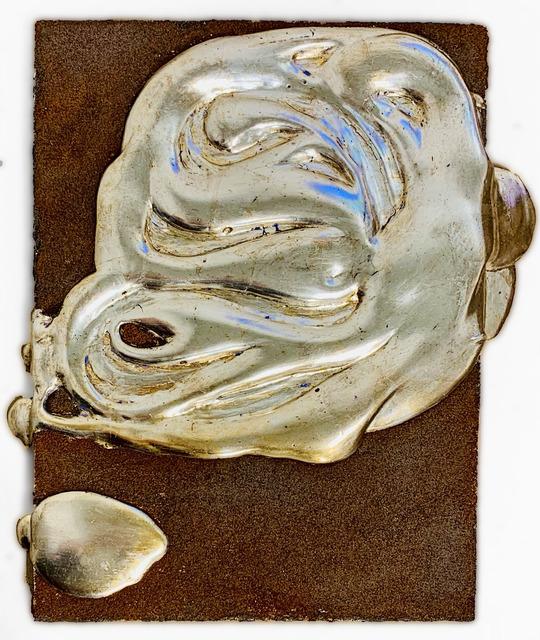 Nancy Lorenz, 'White Gold and Iron Filings', 2017, Mixed Media, White gold leaf, gesso, and iron filings on wood panel, Gavlak