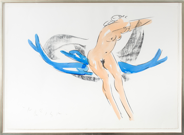 Reuben Nakian, 'Nymph and Dolphins', 1982-1985, Drawing, Collage or other Work on Paper, Black litho crayon and color wash on paper, Rosenberg & Co.
