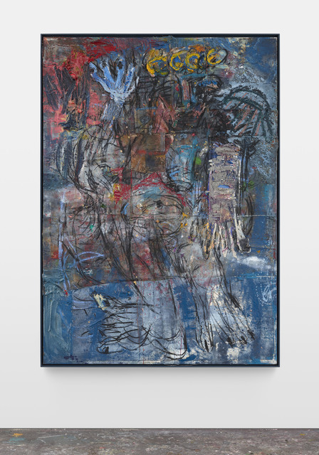 Daniel Crews-Chubb, 'Zeus(!) blue', 2019, Painting, Oil, oil bar, charcoal, ink, pastel,coarse pumice gel, sand and collaged fabrics on canvas in artist frame., Vigo Gallery