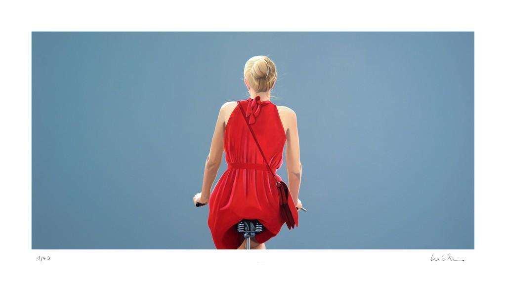 Sabine Liebchen   o.T. (Radfahrerin in rotem Kleid, Blau) (2017 ...
