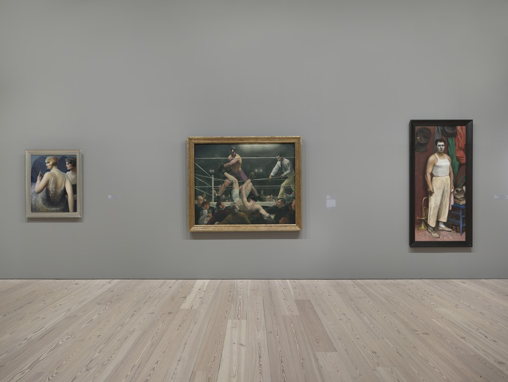 "Installation view of ""Human Interest: Portraits from the Whitney's Collection"" (April 27, 2016-Feb 12, 2017, Whitney Museum of American Art, N.Y.). From left to right: Richard Avedon, ""Dovima with Elephants, Cirque d'Hiver, Paris"", 2001.187, Gertrude Vanderbilt Whitney, ""Chinoise"", 31.79, Guy Pene Du Bois, ""Woman with Cigarette"", 31.187"