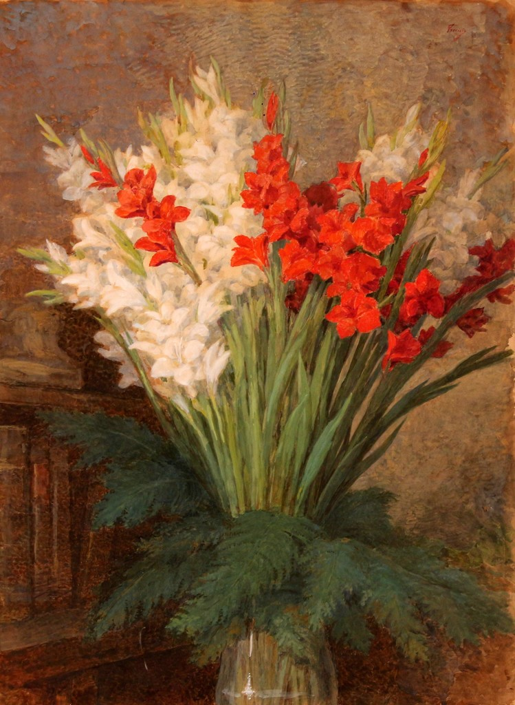 Gaetano Previati 'Vase of gladiolis', oil on paper, 53x72, signed