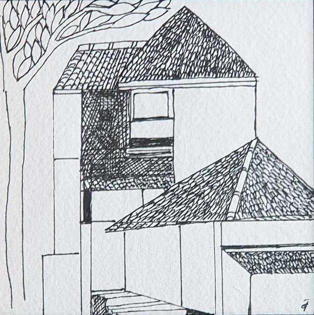 ", 'House, Ink on Paper by Indian Padmashree Artist Badri Narayan ""In Stock"",' ca. Circa, Gallery Kolkata"