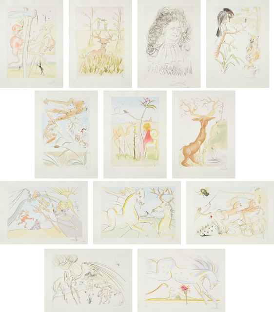 Salvador Dalí, 'Le Bestiare de la Fontaine Dalinesé (La Fontaine's Bestiary Dalinized)', 1974, Print, The complete set of 12 etchings with drypoint and stencil-coloring, on Arches paper, with full margins, loose (as issued), title page, all contained in the original brown suede portfolio, Phillips