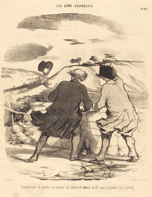 Honoré Daumier, 'Inconvénient de quitter...un convoi de chemin de fer...', 1847, National Gallery of Art, Washington, D.C.