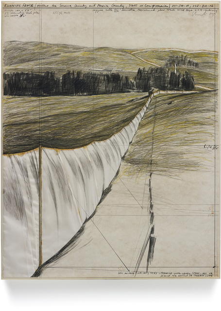 Christo and Jeanne-Claude, 'Running Fence', 1975, Mixed Media, Gouache, collage on board under plexiglas, Phillips