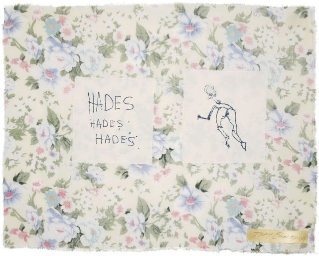 "Tracey Emin, '""HADES HADES HADES""', 2009, Print, Screen print on cotton hand stitched onto floral fabric., Arts Limited"