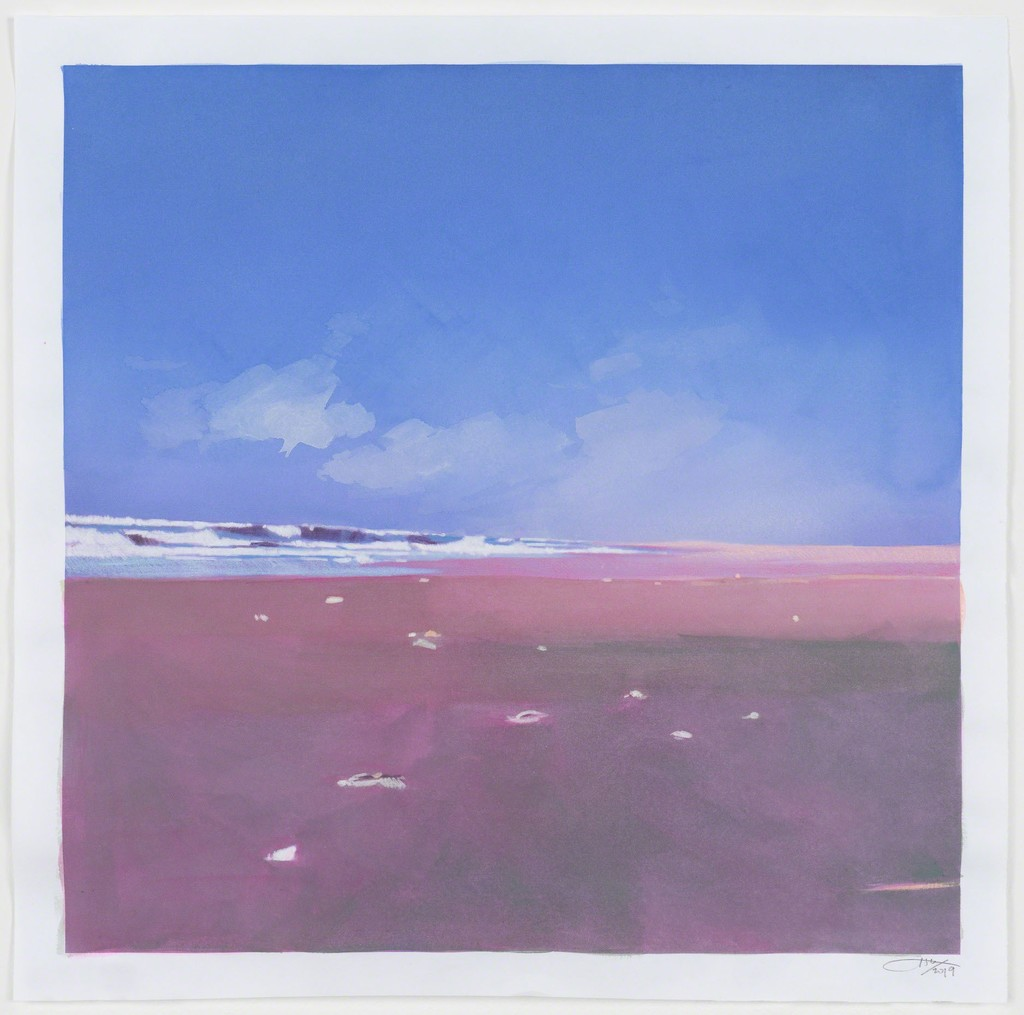 Isca Greenfield-Sanders, Seascape, 2019, Mixed Media Watercolor with Color Pencil, 39 x 39 cm