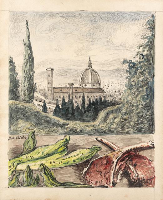 Giorgio de Chirico, 'Veduta di Firenze con bistecche ed insalata', 1966, Il Ponte