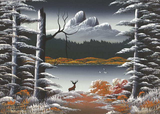 , 'Untitled (Mountain lake nocturne with deer, blasted tree and three birds),' n.d., Contemporary Art Gallery