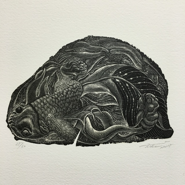 Takehiro Nikai, 'Dreaming Fish', 2015, Drawing, Collage or other Work on Paper, Print from wood engraving, Micheko Galerie