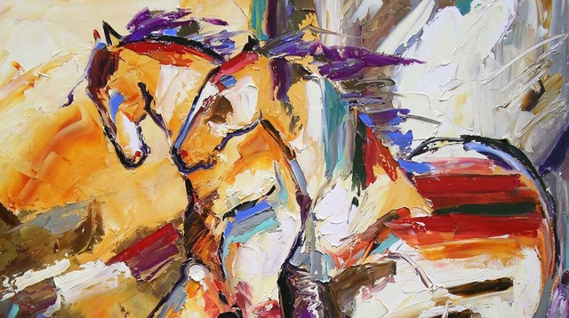 Laurie Pace, 'Original Horse Painting 'Hilltoppers' Colorful Equine Art, Modern Western Art', 2017, Painting, Oil on Canvas, Fringe Gallery