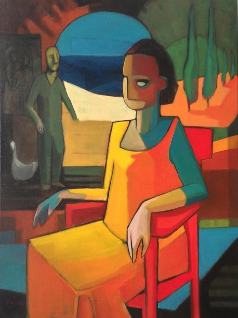 , 'Woman on red chair ,' 2014, Wentworth Galleries
