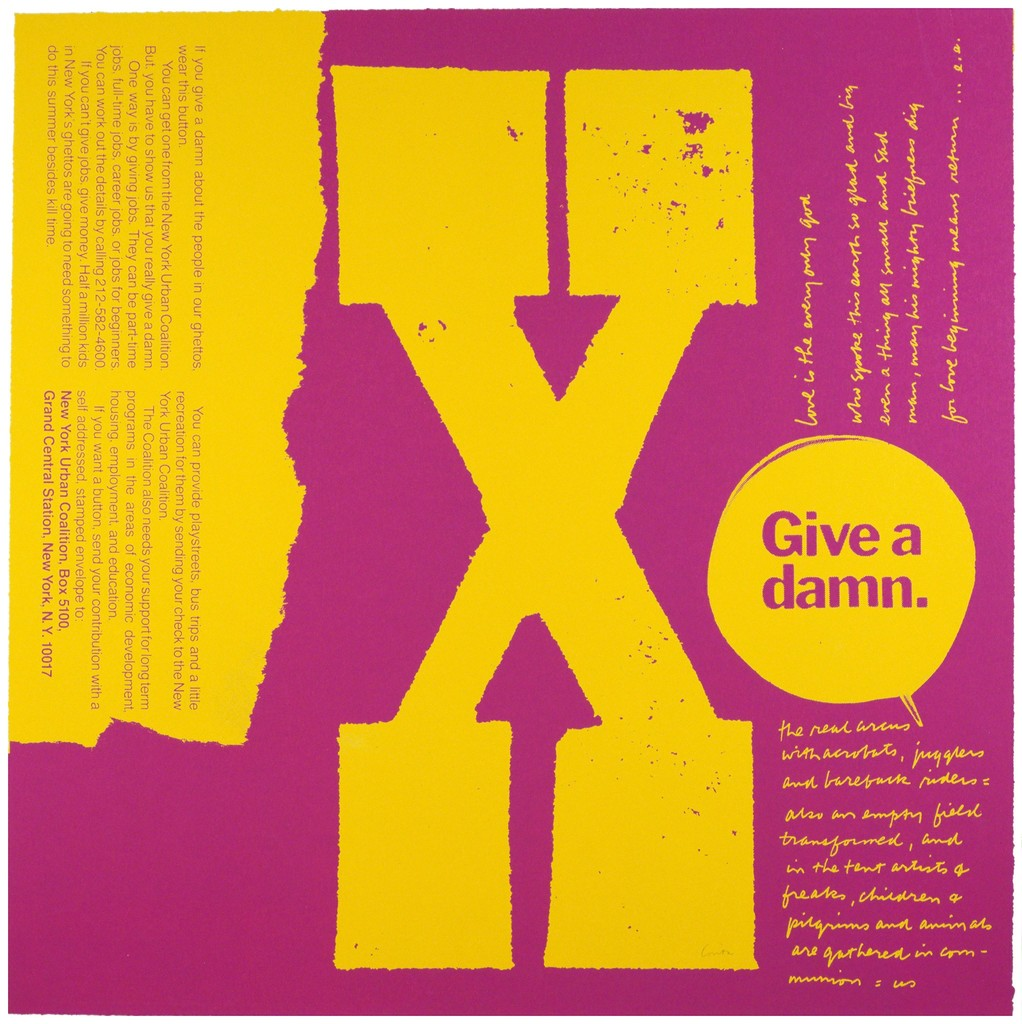 "Corita Kent, ""X give a damn,"" 1969, serigraph, 23 x 23 1/8 inches, Tang Teaching Museum collection, gift of Harry Hambly, serigrapher, Hambly Studios, 2016.14.25"