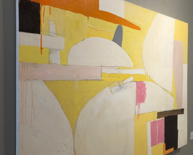 Javier Arizmendi, 'Still Life / abstract expressionistic geometry in soft yellow ', 2014, Painting, Oil on canvas, Andra Norris Gallery