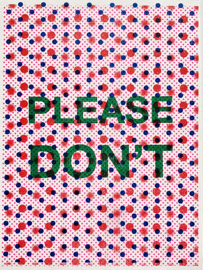 """""""Please Don't"""" by Paul Shortt, 2019, risograph print, 9 x 12 inches framed, Edition 1 of 8"""