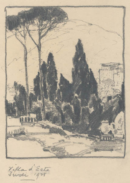 Chauncey Ryder, 'Villa d'Este, Tivoli [Italy]', 1928, Drawing, Collage or other Work on Paper, Pencil on paper, Childs Gallery