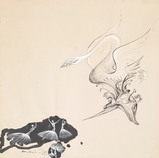 Salvador Dalí, 'Study for Scenography and Costume for the Ballet Bacchanale', 1939, Drawing, Collage or other Work on Paper, Ink, felt-tip pen and gouache on paper, Omer Tiroche Gallery