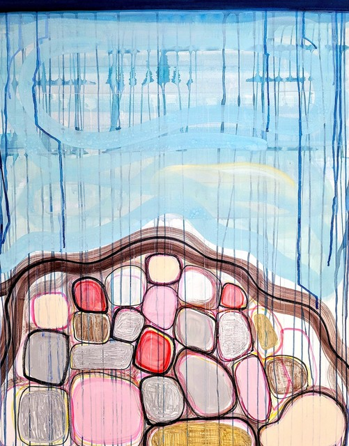 Theresa Hackett, 'Blue Mound', 2018, Drawing, Collage or other Work on Paper, Flashe paint, pigment, marker, acrylic on BFK, CUE Art Foundation Benefit Auction