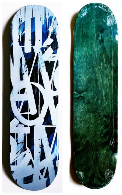 , 'Original Limited Edition Skateboard Skate deck (Blue) with COA signed by RETNA ,' 2018, Alpha 137 Gallery