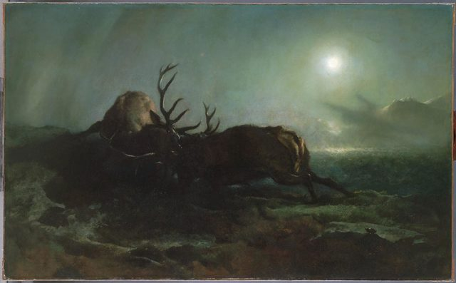 , 'Night (Two Stags Battling by Moonlight),' ca. 1853, Philadelphia Museum of Art