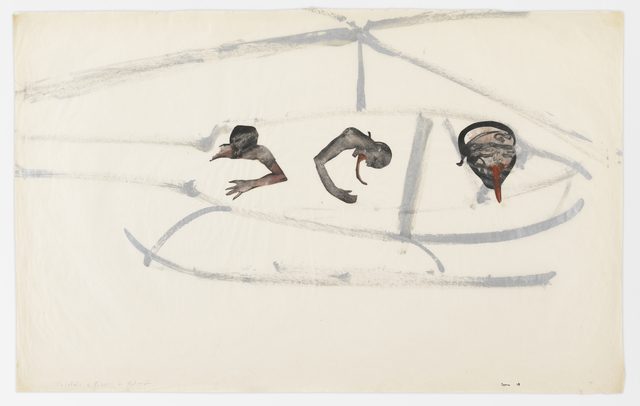 Nancy Spero, 'Gunship, Pilot, and Victims', 1968, Drawing, Collage or other Work on Paper, Gouache and ink on paper, Galerie Lelong & Co.