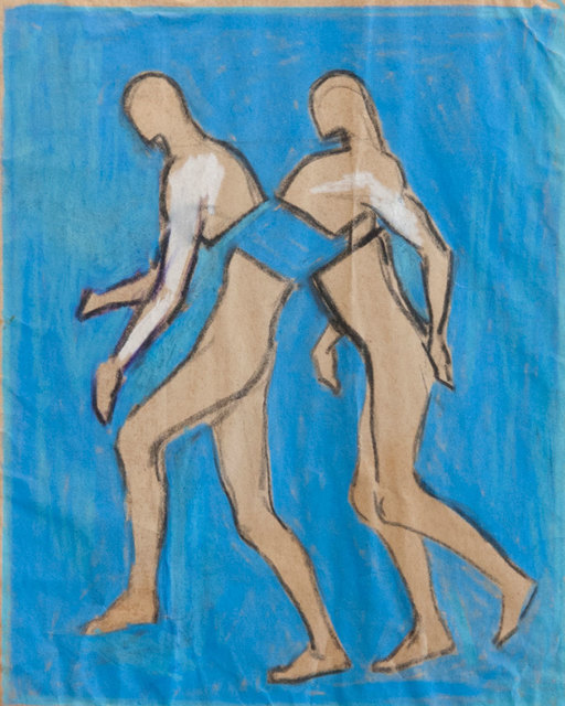 Antonio Hin-yeung Mak, 'Untitled (Intertwined men)', ca. 1975-1990, Drawing, Collage or other Work on Paper, Pastel on paper, Blindspot Gallery